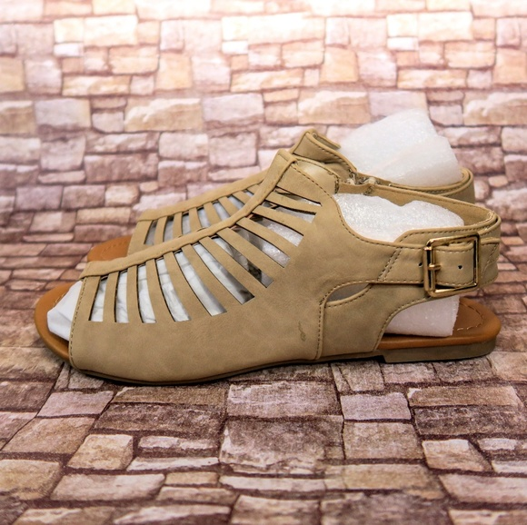 d8e03b5d4af Camel gladiator ankle strap sandals. Boutique. Soda